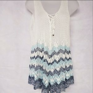 HOOKED UP Festival Crochet Tank Top XL NWT